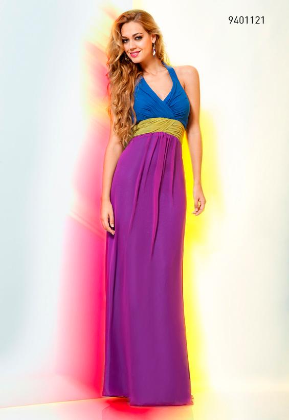 Vestido tricolor largo de 245 a 99 €