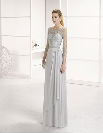 Vestido largo con corpiño bordado