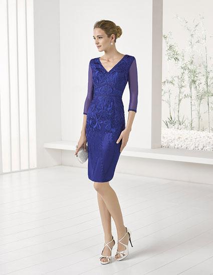 Vestido corto recto encaje de color azul