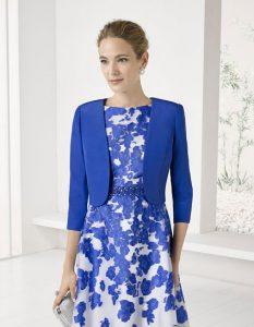Vestido organza estampada con bolero de color azul