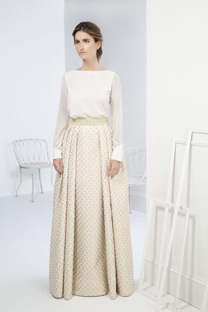 Vestido novia dos piezas mikado bordada