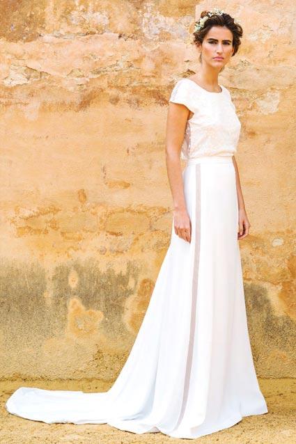 Vestido de novia dos piezas con top brocado