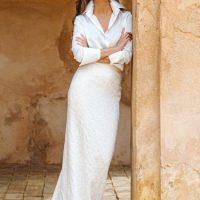 Vestido de novia dos piezas con top seda