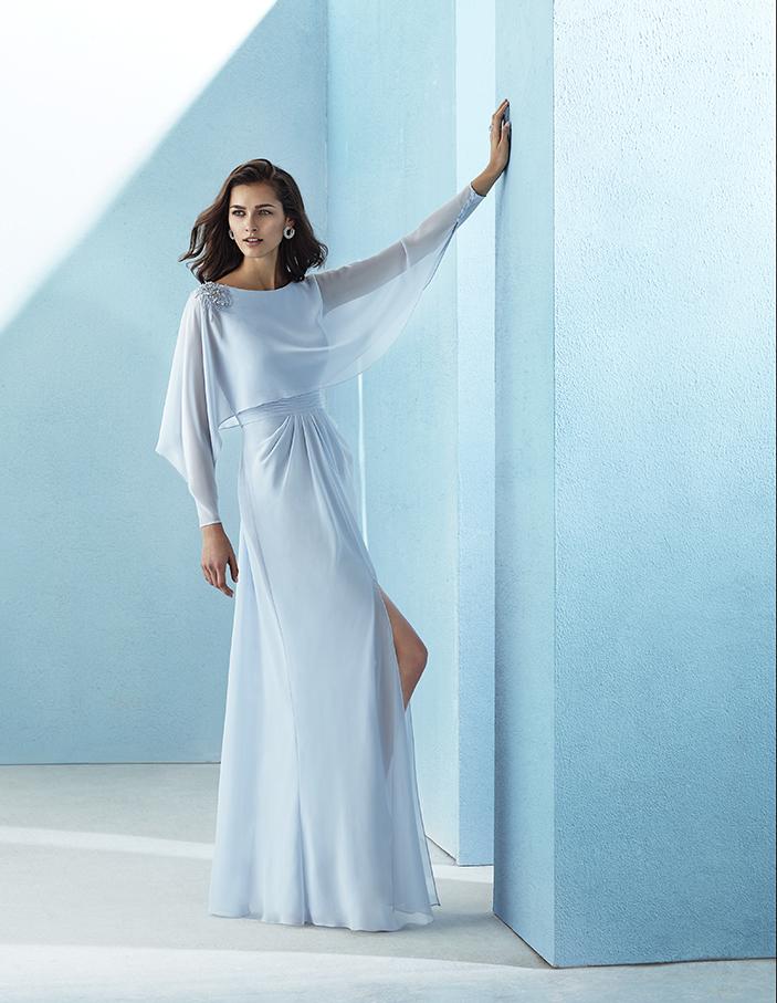 Vestido largo gasa con mangas opcionales
