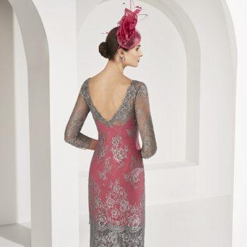 Vestido encaje bicolor