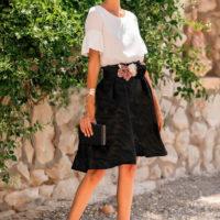 Falda brocado + blusa