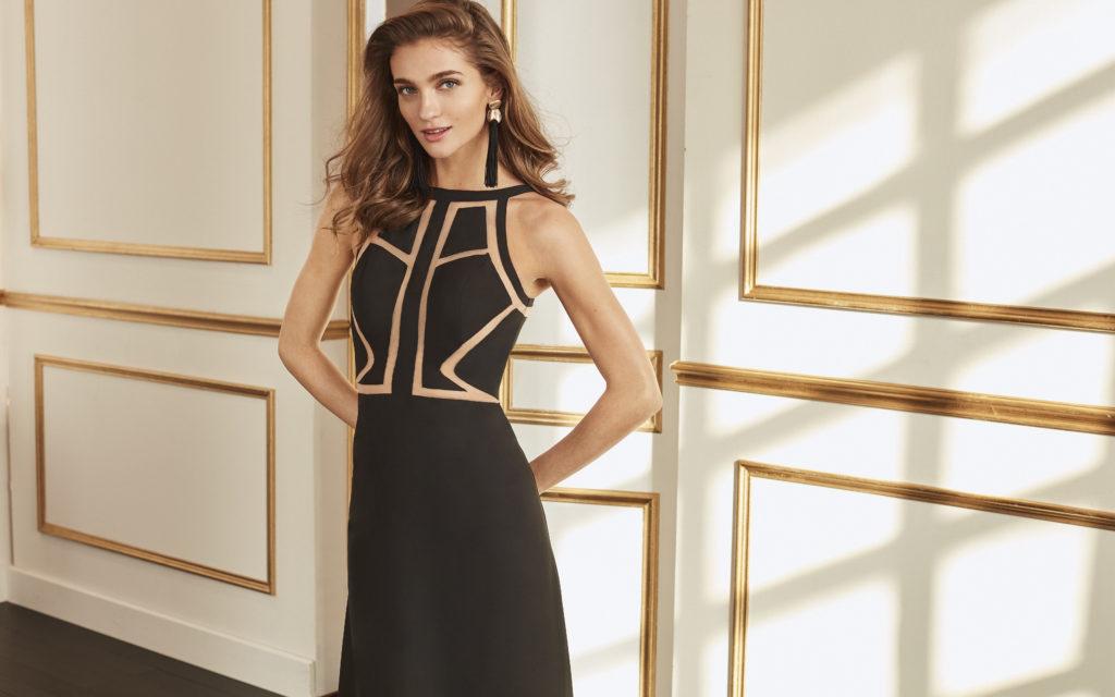 Vestido largo crep con escote geométrico