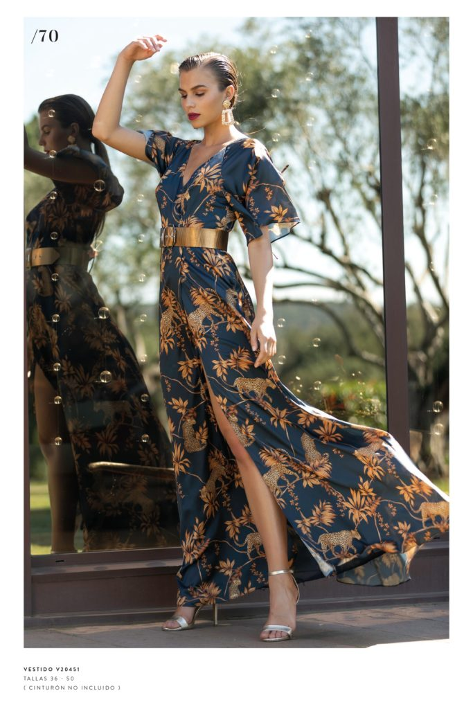Vestido largo print japones