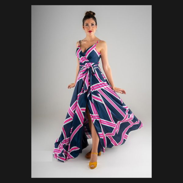 Vestido tirantes geométrico