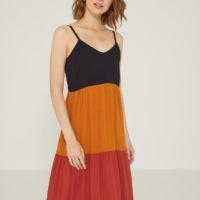 Vestido tricolor contraste